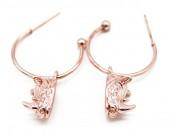 B-E19.4  E426-012 Earrings 20mm with Rhino 14mm Rose GoldB-E19.4  E426-012 Earrings 20mm with Rhino 14mm Rose Gold