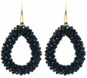 C-A15.3 E007-001 Facet Glass Beads 4.5x3.5cm Gold-Black