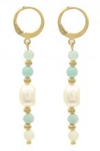 A-A4.4 E2121-053G S. Steel Earrings Amazon Stone- Freshwater Pearl 5x1cm Gold