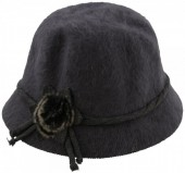 X-G1.1 Woolen Hat with Flower and Fake Fur Pompon Grey