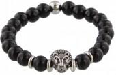 B-E4.4 S. Steel Bracelet with Semi Precious Stones Black