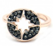 G-C21.2  R532-005R Adjustable Ring Northern Star with Crystals Rose Gold