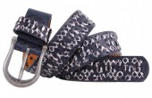 B-D1.2 FTG-072 PU with Leather Belt with Studs-Zebra 3.5x105cm Grey