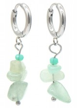 A-G3.2 E301-067S S. Steel Earrings with Stones 1.2x3cm Green