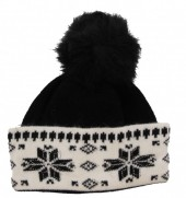 R-G8.1 Beanie with Crystals and Fur Pompon Black