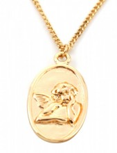 F-D19.1  N304-038 Metal Necklace with Angel Charm 1.7cm Gold