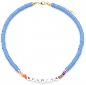 C-B3.3  N2030-001B3 Beaded Necklace HAPPY Blue