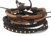 B517-003 Leather Bracelet Set with Studs and Rope