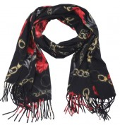 Y-C6.4 SCARF405-040E Soft Scarf Chains and Flowers 180x70cm Black
