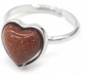 E-E17.4 R1934-009 Adjustable Ring Gold Sand Stone Silver