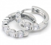 B-A2.2 E516-002 Earrings 15mm with Cubic Zirconia Silver