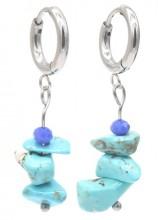 B-B6.4 E301-067S S. Steel Earrings with Stones 1.2x3cm Blue