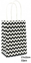 Y-C4.2  PK525-005A Paper Giftbag Zigzag 17x12cm Black-White 12pcs