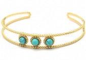 B-C1.2 B2033-012G S. Steel Bangle with Turqoise Stones Gold