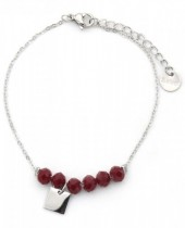 D-C7.2 B317-005 Stainless Steel Bracelet with Facet Glass Beads Bordeaux
