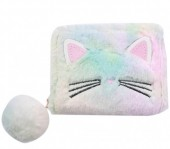 S-C6.3 WA527-003 Fluffy Wallet Kitten with Pompon multi color