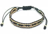 F-A15.1 B2030-001B Bracelet with Faceted Glassbeads Black-Gold