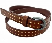 C-B24.1 HM-080 Leather Belt with Gold Dots 2x115cm