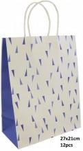Q-K2.1 PK525-007C Paper Giftbag 27x21cm Blue 12pcsQ-K2.1 PK525-007C Paper Giftbag 27x21cm Blue 12pcs