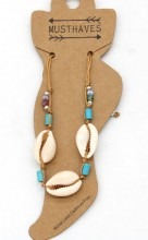 E-B15.1  ANK221-014 Anklet with Shells Brown
