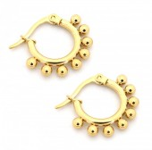 A-C8.3  E1264-004SS Stainless Steel Earrings with Dots 10mm Gold