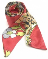 H415-001E Hair Scarf Leopard Mix 100x5cm Red