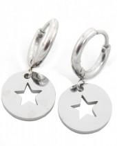 E-E4.4 E410-001 S. Steel Earrings 10mm with Star 12mm Silver