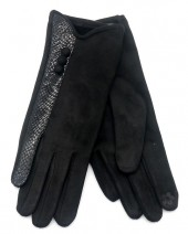 R-J3.2  GLOVE403-093C Glove Buttons and Snake Print Black