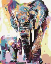 Y-B1.2  MS7889 Paint By Number Set Elephant Lisa 50x40cm