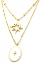 D-A8.1  N2004-001G S. Steel Layered Necklace Northern Stars Gold