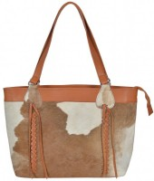 T-J5.1 BAG1156 Leather Bag with Braids and Cowhide Mixed Colors 45x30x9cm