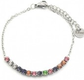 B-A8.1 B301-031S S. Steel Bracelet with Multi Color Crystals Silver