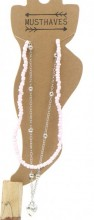 G-C2.1 ANK002C Layered Anklet with Beads and Heart Pink