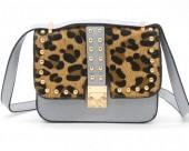 Q-J2.1  BAG009-008 Trendy PU Bag with Studs and Leopard Print Grey 20x20x6 cm