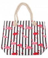 Z-C2.4 BAG217-002 Striped Beach Bag with Flamingos 43x34cm White