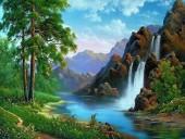 Q-L7.2 S6033 Diamond Painting Set Waterfall Round Stones 50x40cm