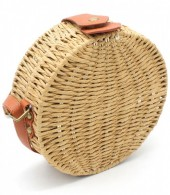 Z-D2.2 BAG323-002 Round Straw Bag with PU Straps Brown 18.5x7 cm