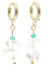 B-F6.4 E301-067G S. Steel Earrings with Stones 1.2x3cm Transparant