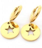 E-E2.2 E410-001 S. Steel Earrings 10mm with Star 12mm Gold