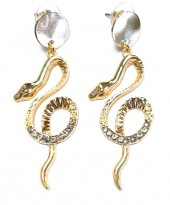 B-D14.1 E1631-049A Earrings Snake with Crystals 6x2cm Gold