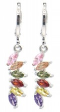 B-F8.1 E516-004 Earrings 1x3cm with Multi Color Cubic Zirconia Silver