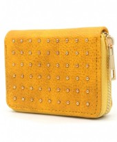 WA214-004 Small PU Wallet with Golden Studs Yellow