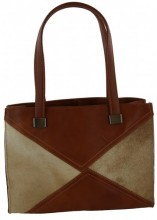 T-C5.3  Leather Bag 32x24x11cm Dark Light Brown with Mixed Color Cowhide