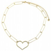D-E22.1 N2033-009G S. Steel Necklace 35mm Heart Gold