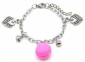 E-F17.2  B2053-006 S. Steel Bracelet Hearts and Macron 14-17cm For Kids