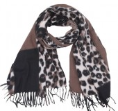 Y-B1.3 SCARF405-025E Soft Scarf Checkered Leopard 180x70cm Brown