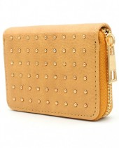 WA214-004 Small PU Wallet with Golden Studs Brown