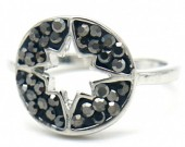 G-A19.1 R532-005S Adjustable Ring Northern Star with Crystals Silver