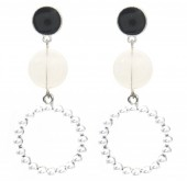 C-F6.3 E1631-078B Earrings with Pearls 5x2.5cm