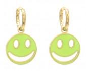 D-E7.3 E221-241E S. Steel Earrings Smiley 1x2.3cm Gold-Green